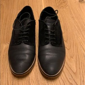 Black oxford lace-ups, size 8, low-mid heel